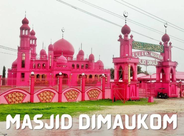 Pink Mosque with the Welcome Arch