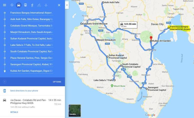 TRAVELMAP Counterclockwise route from Davao City