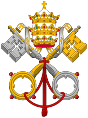 The papal symbol of crossed keys and tiara